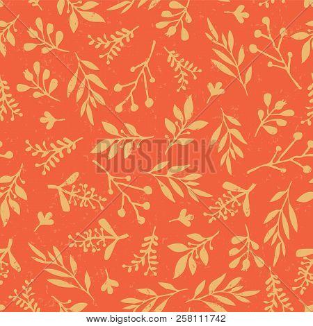 Thanksgiving Vintage Autumn Leaves Seamless Vector Background. Golden Retro Leaves On Orange Backgro