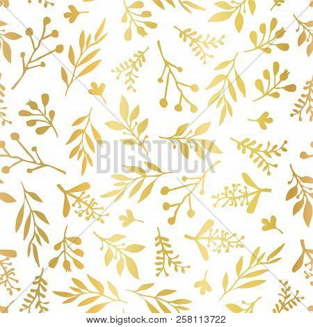Seamless Vector Background With Abstract Gold Foil Leaves On White. Simple Golden Leaf Texture, Endl