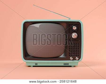 Blue tv on pink background 3D illustration