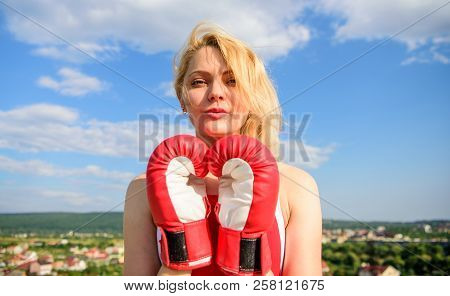 Satisfied Free Girl Boxing Gloves. Femininity And Strength Balance. She Fighter Female Rights. Asser