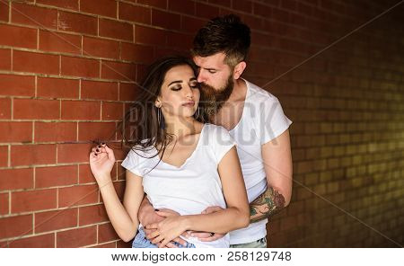 Girl And Hipster Romantic Feelings Relations. Couple Find Place To Enjoy Feelings. Couple Enjoy Inti