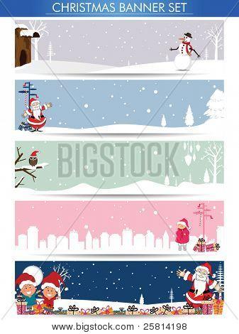 Mega Satz von Christmas Banner mit Santa, Schneemann und Kopie Raum für Ihren text