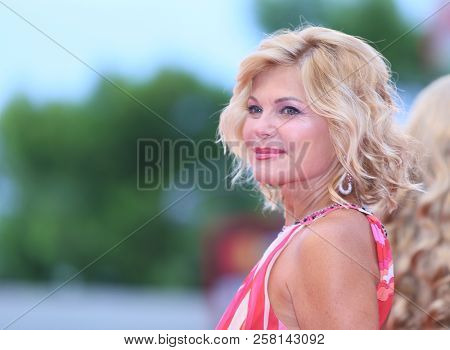 Patrizia Pellegrino walks the red carpet ahead of the 'One Nation One King (Un Peuple Et Son Roi)' screening during the 75th Venice Film Festival at Sala Grande on September 7, 2018 in Venice, Italy.