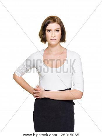 verwirrt, unsicher und zögerlich Business-Frau