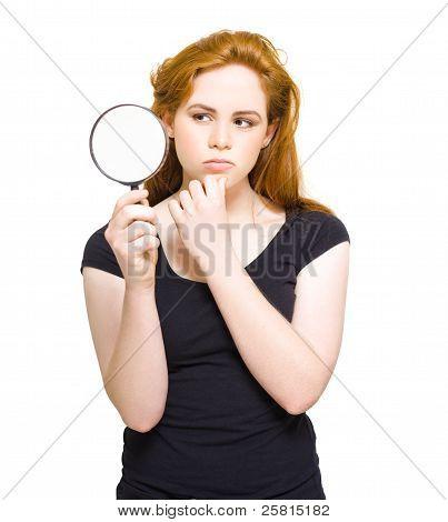 Private Eye Holding Spy Glass