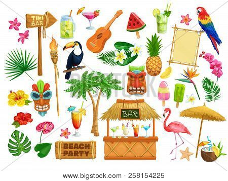 Vector Hawaiian Beach Party Icons. Tiki Tribal Mask, Wooden Signboard, Tropical Birds, Cocktails, Wa