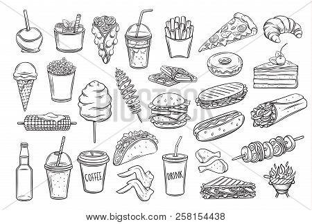 Street Food Icons Set. Takeaway Meals Bubble Waffles, Hong Kong, Spiral Potato Chips, Lemonade And A