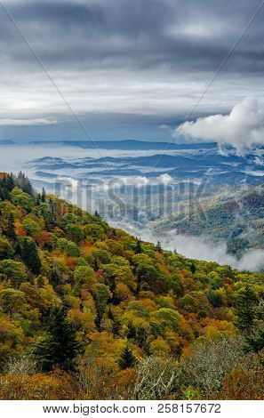 Morning Clouds Hanging Low Over The Blue Ridge Parkway In Autumn
