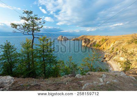 Lake Baikal In Summer. Island Olkhon. Cape Burhan