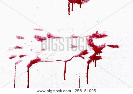 Red Bloody Hand-prints Isolated On White Background.
