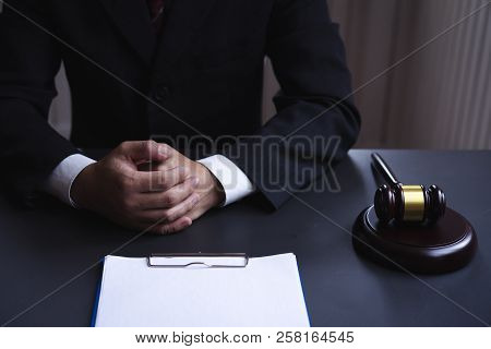 Lawyer Consultant Working Desk With Blank Paper Document For Graphic Montage.