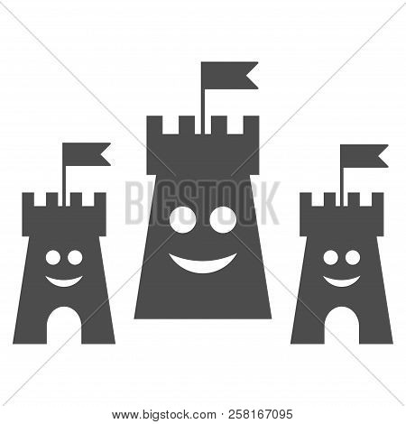 Happy Bulwark Vector Pictograph. Style Is Flat Graphic Gray Symbol.