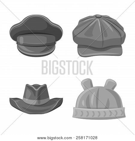 Vector Illustration Of Headwear And Cap Logo. Set Of Headwear And Accessory Vector Icon For Stock.