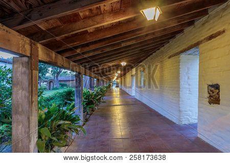 Santa Clara, California - September 13, 2018: Exterior Corridor At Mission Santa Clara De Asis. This