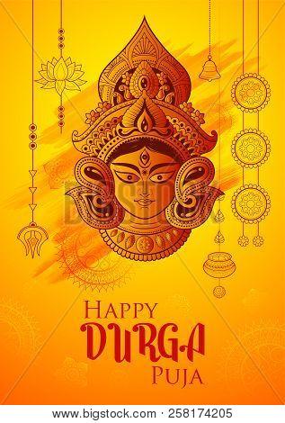 Goddess Durga Face In Happy Durga Puja Subh Navratri Background