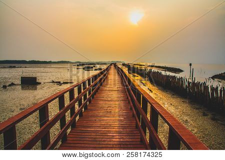 Red Bridge Is About 6 Years Old, Built By The Office Of Public Works And Town Planning In Samut Sakh