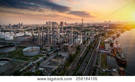 Aerial View Oil Refinery, Refinery Plant, Industrail Refinery Factory Petrochemical Plant At Sunset
