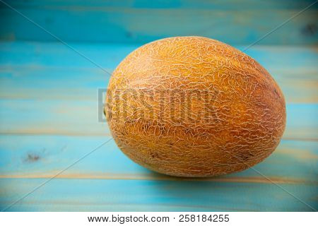 Fresh Organic Melon On The Blue Background