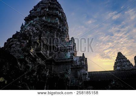 Inside Of Ankor Wat With Sunrise Cloud Sky Siem Reap Cambodia,wonders Of The World