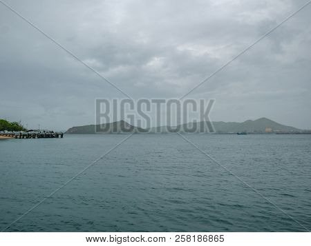 Amazing Idyllic Ocean And Beautiful Sky With Island View In Rainy Time ,summer Concept