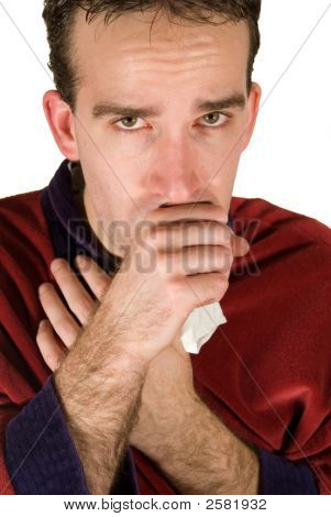 Young man coughing into his hand because he has a cold poster