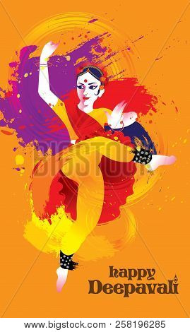 Deepavali Vector Of A Colourful Dancing Woman With Indian Costume, Presented In Energetic Ink Splash