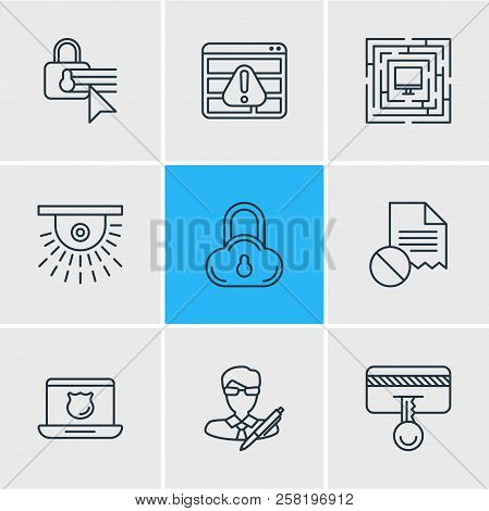 Vector Illustration Of 9 Protection Icons Line Style. Editable Set Of Access Denied, Cloud Data Prot