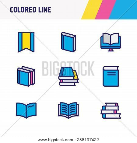 Vector Illustration Of 9 Read Icons Colored Line. Editable Set Of Lecture, Ebook, Literature And Oth