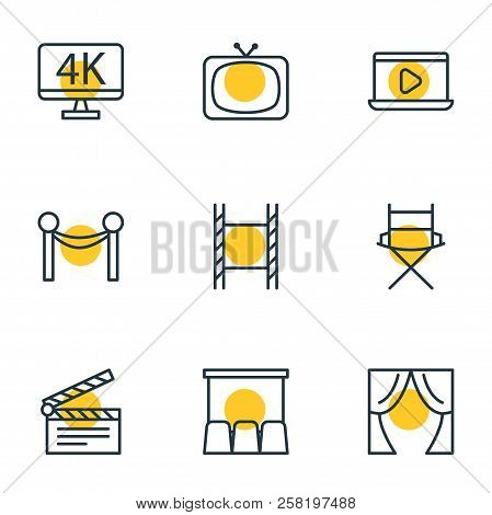 Vector Illustration Of 9 Cinema Icons Line Style. Editable Set Of Director Chair, Movie On Laptop, T