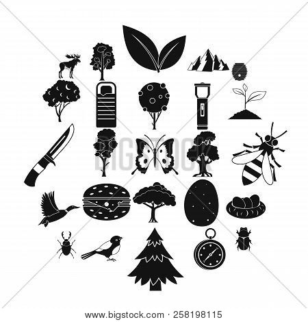 Wild Nature Icons Set. Simple Set Of 25 Wild Nature Vector Icons For Web Isolated On White Backgroun