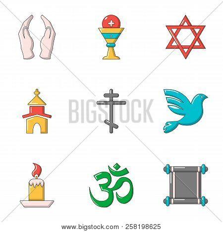 Faith Icons Set. Cartoon Set Of 9 Faith Vector Icons For Web Isolated On White Background