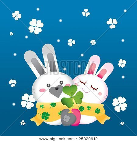 Valentine rabbit in snowy day