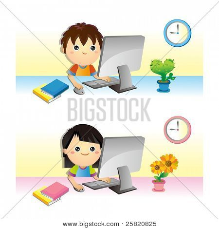lovely Children learning with computer