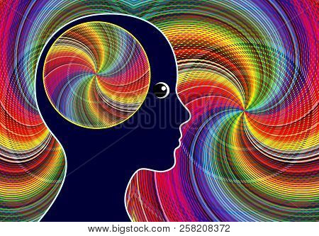 Creative Flow Experience. Woman Facing The Ultimate State Of Creativity, Spirituality And Happiness