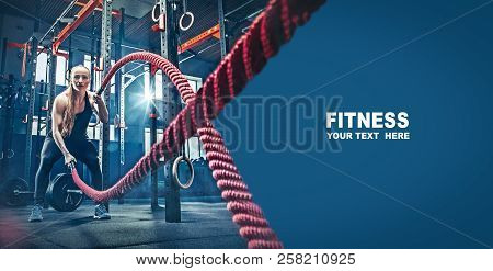 Woman With Battle Rope Battle Ropes Exercise In The Fitness Gym. Gym, Sport, Rope, Training, Athlete