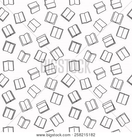 Open Book Seamless Outline Pattern With White Background. Vector Books Linear Texture