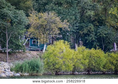 Dacha Official On The Shore Of Lake Abrau. House On The Shore Of The Lake