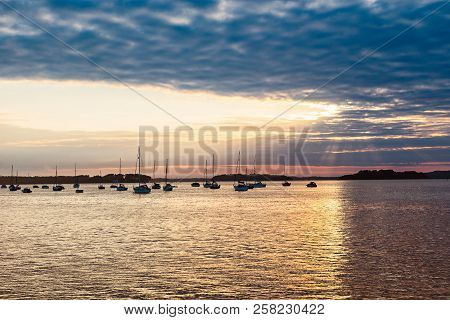 Landscape With Yachts In The Sea At Sunset, Yachting. Romantic Trip On Luxury Yacht During The Sea S