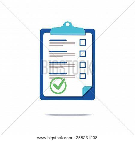 Prenuptial Agreement Document, Check List Clipboard Sociology Concept, Questionnaire Form, Vector Fl