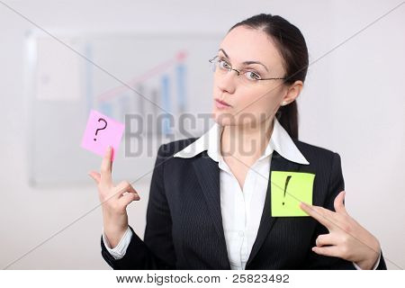 Business Woman With Post