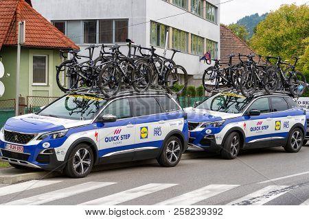 Ruzomberok, Slovakia - September 14: Pro Cycling Team Cars At Second Stage Of Tour De Slovakia On  S