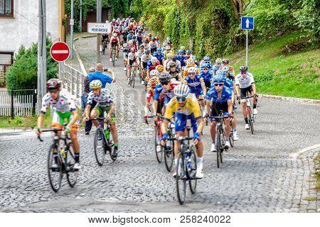 Ruzomberok, Slovakia - September 14: Peloton At Second Stage Of Tour De Slovakia On  September 14, 2