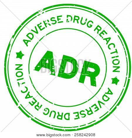 Grunge Green Adr (abbreviation Of Adverse Drug Reaction) Round Rubber Seal Stamp On White Background