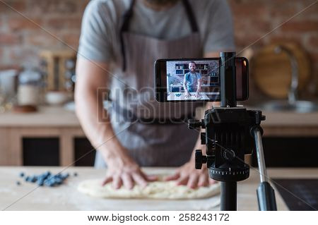 Baker Online Courses. Food Preparing And Culinary Training Class Concept. Smiling Bearded Chef Knead