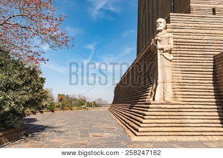 Pretoria, South Africa, July 31, 2018: A Sculpture Of Voortrekker Leader Piet Retief On The North-ea