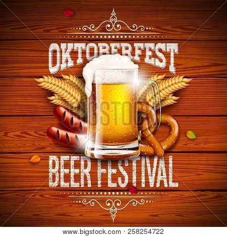 Oktoberfest Banner Illustration With Typography Lettering And Fresh Beer On Vintage Wood Background.