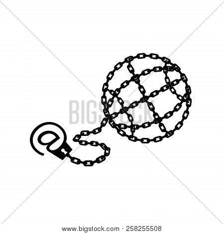 Globe chained and shackled. Modern metaphor, phone internet and social networks addiction icon. Stylish vector concept illustration isolated. Addicted to social networking flat style. Handcuff email alias. poster