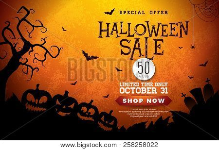 Halloween Sale Banner Illustration With Pumpkins, Cemetery And Flying Bats On Orange Background. Vec