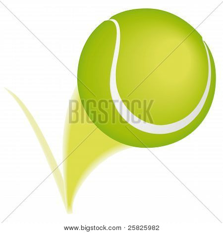 Tennis ball taking a bounce and leaving a blurred path. poster