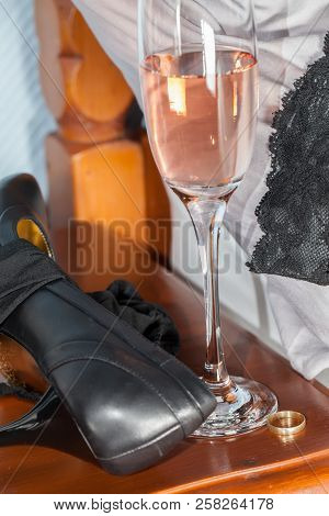 Adultery. Extramarital Illicit One-night Stand Affair After A Drunken Party. Black Lace Stockings, S